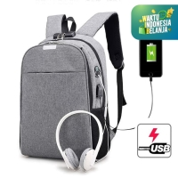 TAS RANSEL ANTI MALING KANVAS USB + HEADSET CANVAS SMART BACKPACK 827