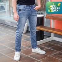 Papperdine 213 Bleach Slim Fit Celana Panjang Pria Jeans Selvedge
