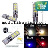 LAMPU LED MOTOR T10 CRYSTAL JELLY 6 MATA SMD STROBO KEDIP SIGN / SEN