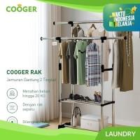 COOGER Stand hanger Double Rak Gantung Baju dan Rak sepatu