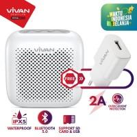 Speaker Bluetooth 5.0 VIVAN Waterproof IPX5 Micro SD VS1 FREE Charger - Putih
