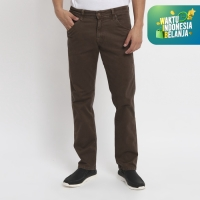 Papperdine 216 Brown Straight Fit Celana Panjang Pria Chinos Stretch