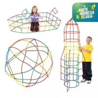Mainan Anak DIY Bongkar Pasang Puzzle Sedotan ~ DIY MAGIC STRAW 100pcs