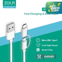 Zola Fast Charging 2 In 1 Cable Data Sync Micro USB & USB Type-C 30CM
