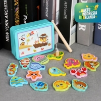 Mainan Anak Set Pancingan Ikan Magnetic 15pcs ~ FUNNY FISHER