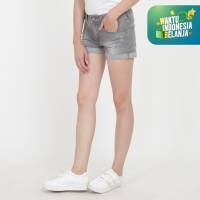 Papperdine 1502 Ash Grey Ladies Hot Pants Celana Pendek Jeans Wanita