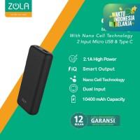 ZOLA GENIUS Powerbank 10400mAh Fast Charging 2.1A, Teknologi Nano Cell