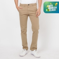 Papperdine 71 Stretch Celana Jeans Chinos Slim Fit Clana Karet Cream