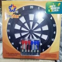 Papan dart game board UNISTAR UKURAN 46CM +buah panah 6 buah