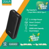 ZOLA Genius 20 Powerbank 20000mAh Fast Charging 2.1A