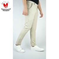 Houseofcuff Celana Chino Panjang Pria Slim fit Stretch Jeans krim - Krim, 28
