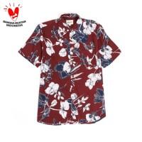 """Kemeja Pria Motif """"White Blooms"""" Bunga Holiday Shirt Lengan Pendek - Merah, S"""