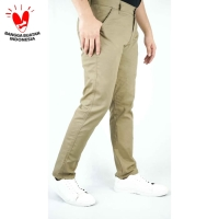 Houseofcuff Celana Chino Panjang Pria Slim fit Stretch Jeans Krim tua