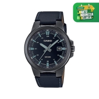 Jam Tangan Pria Casio Analog Black Dial Leather Strap MTP-E173BL-1AV