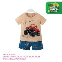 Setelan Baju Tidur Anak Laki-Laki Import Pendek Truck A Shirton