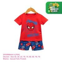 Setelan Baju Tidur Anak Laki-Laki Import Pendek Spiderman A Shirton