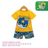 Setelan Baju Tidur Anak Laki-Laki Import Pendek Captain A Shirton
