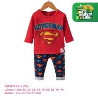 Setelan Baju Tidur Anak Laki-Laki Import Panjang Superman A Shirton