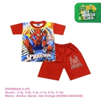 Baju Setelan Anak Laki-Laki Pendek Full Print Spiderman Shirton