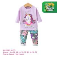 Baju Setelan Anak Perempuan Import Lengan Panjang Unicorn A Shirton