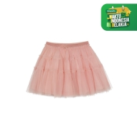 pink tiered mesh skirt