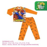 Baju Setelan Anak Laki-Laki Panjang Full Print Superman A Shirton