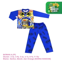 Baju Setelan Anak Laki-Laki Panjang Full Print Batman Shirton