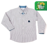 MOOSCA KIDS Stripes Shirt Kemeja Lengan Panjang Abu