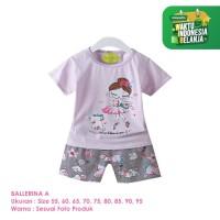 Baju Setelan Anak Perempuan Import Lengan Pendek Ballerina A Shirton