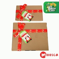 Tambahan paking Gift Box Natal+pita - Ribbon Xmas Gift Box