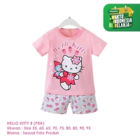Setelan Baju Tidur Anak Perempuan Import Pendek Hello Kitty B Shirton