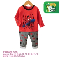 Baju Setelan Anak Laki-Laki Import Lengan Panjang Spiderman A Shirton