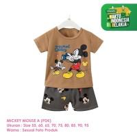 Setelan Baju Tidur Anak Laki-Laki Import Pendek Mickey Mouse A Shirton