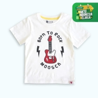 Moosca Kidswear Kaos Anak Born to rock - White