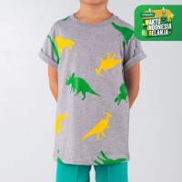 Moosca Kidswear The Dinos T-shirt Kaos Anak Full Print Abu