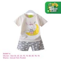 Baju Setelan Anak Perempuan Import Lengan Pendek Rabbit A Shirton