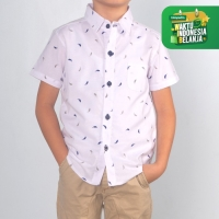 Moosca Kidswear Feather Shirt - Kemeja Anak Putih Size 4