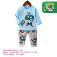 Setelan Baju Tidur Anak Laki-Laki Import Panjang Captain A Shirton