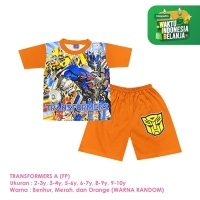 Baju Setelan Anak Laki-Laki Pendek Full Print Transformers A Shirton