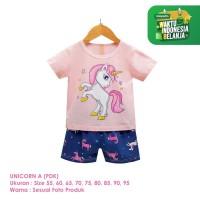 Setelan Baju Tidur Anak Perempuan Import Pendek Unicorn A Shirton