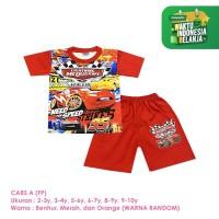 Baju Setelan Anak Laki-Laki Pendek Full Print Cars McQueen A Shirton
