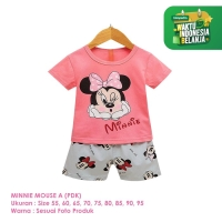 Setelan Baju Tidur Anak Perempuan Import Pendek Minnie Mouse A Shirton