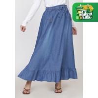 Rok panjang jeans wanita ZAHRA SIGNATURE Long Skirt Denim Nada - Biru Muda