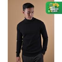 Sweater Rajut Pria Gomuda Signature Roll Neck - Black