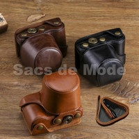 Sony Alpha A5000 A5100 Leather Bag Case Tas Kamera Mirrorless