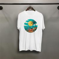 T-shirt Vespa Pantai / Baju Kaos Distro Pria Wanita Cotton 30s
