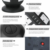 Socket EWStension Saklar 8 Way Plug Uk 4 Usb Pelindung WS