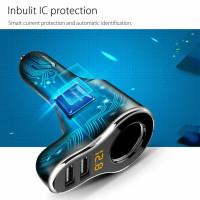 Dual USB Car LCD Cigarette Lighter Socket Splitter DC/12V WS
