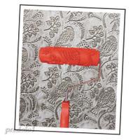 2pcs 7in Kuas Roller Cat Dinding Motif Bunga Burung Dengan Gagang