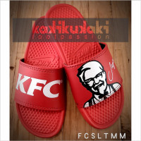 SANDAL SLIDE KFC SOLID LOGO TEXT MERAH MERAH BENASSI FLIP PREMIUM - 39